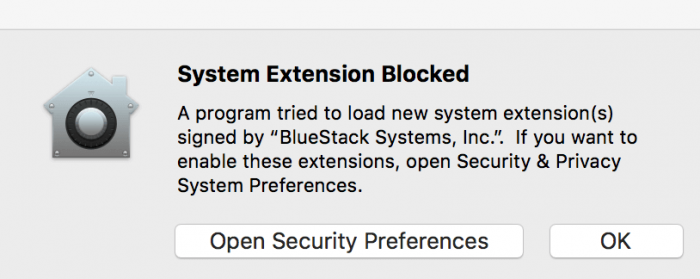 Click Open Security Preferences